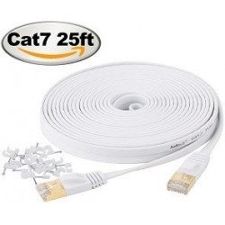Jadaol Cat 7 Ethernet Cable 25 ft Shielded - Internet Network Computer patch cord – faster than Cat5e/Cat5/cat6, Lan Wire for Router, Modem – White
