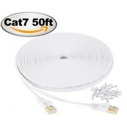 Jadaol-Cat 7 Ethernet Cable 50ft White –  (15 Meters)