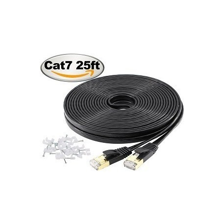 Jadaol-Cat 7 Ethernet Cable 25ft Black – (7.62 Meters)