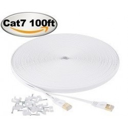 Jadaol Cat 7 Ethernet Cable 100 ft Shielded, Internet Network Computer patch cord, faster than Cat5e/cat6, Lan Wire for Router, Modem, Xbox – White